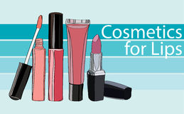 Series Cosmetics for Lips Stock Photo