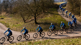 Series of a cyclist. Series of an athlete cycling on a mountain bike Royalty Free Stock Photo