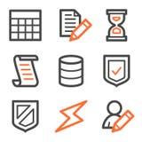 Series de los iconos del Web de la base de datos, anaranjadas y grises del contorno Imagen de archivo libre de regalías