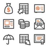 Series de los iconos del Web de las actividades bancarias, anaranjadas y grises del contorno Foto de archivo