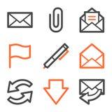 Series de los iconos del Web del email, anaranjadas y grises del contorno Fotografía de archivo