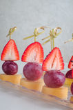 Series of dessert canape from fruits on the table Royalty Free Stock Photography