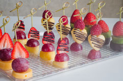 Series of dessert canape from fruits on the table Stock Photo
