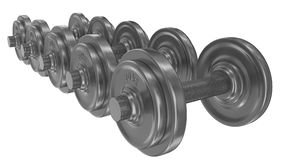 Series of dumbbells isolated on white Stock Photo