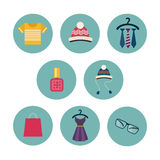 Series of eight flat icons the clothes and Stock Photography
