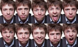 A series of emotional portraits of shaggy young man stock photo