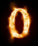 A series of fiery font from a dust. Fiery font from a dust.  number zero Stock Image