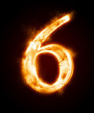 A series of fiery font from a dust. Fiery font from a dust . number six Royalty Free Stock Photography