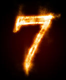 A series of fiery font from a dust. Fiery font from a dust . number seven Royalty Free Stock Photography