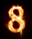 A series of fiery font from a dust. Fiery font from a dust . number eight Royalty Free Stock Photography