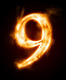 A series of fiery font from a dust. Fiery font from a dust . number nine Royalty Free Stock Images