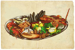 From the series food: Seafood. An hand drawn illustration on old paper. From the series Food around the World: Seafood Royalty Free Stock Photo