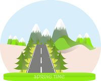 Series four seasons. Mountain landscape, road in spring time, fir trees. Modern flat design, design element Royalty Free Stock Image