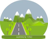 Series four seasons. Mountain landscape, road in summer time. Modern flat design, design element Stock Photo