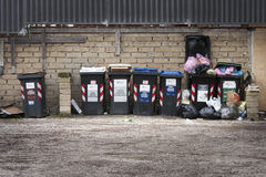 Series of garbage bins. Separate collection. A series of bins. Separate collection is often not respected in Italy (Rome Stock Images