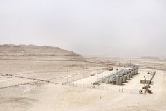 Series of Gas compressor in Bahrain oil field Royalty Free Stock Images