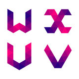Series of geometric letters u, v, w, x Royalty Free Stock Images