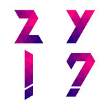 Series of geometric letters y, z, exclamation and question mark Stock Images