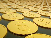 Series of gold coins. With dollar sign Royalty Free Stock Photo