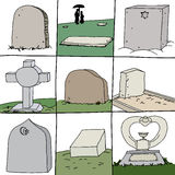Series of Grave Stones Royalty Free Stock Images