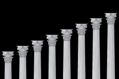 A series of Greek, antique, historic colonnades with Corinthian capitals and space for text on a black background royalty free stock photo