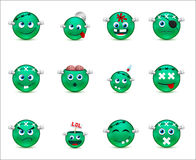 Series of green smilies-style zombies Royalty Free Stock Photography