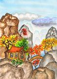 House in China, painting Royalty Free Stock Photo