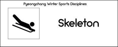 Icon depicting Skeleton discipline of winter sports games in Pye Royalty Free Stock Image