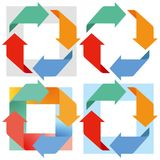 Arrows in motion. A series of illustrations of colourful arrows revolving in rectangular shapes Stock Photos