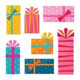 Series of illustrations of gift wrapped presents. A series of colorful illustrations of wrapped gift boxes with polka dots, stars, stripes and diamonds and tied Stock Photography