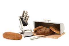 Series of images of kitchen ware. bread bin Stock Photos