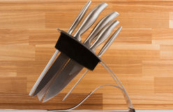 Series of images of kitchen ware. Knife set Royalty Free Stock Photography