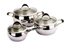 Series of images of kitchen ware. Pan set Stock Images