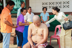 A series of initiation rites that have changed to the new man at the temple Thailand Royalty Free Stock Image