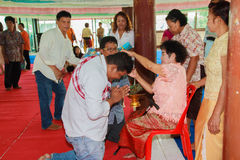 A series of initiation rites that have changed to the new man at the temple Thailand. Bangkok March 1: a series of initiation rites that have changed to the new Stock Images