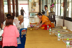 A series of initiation rites that have changed to the new man at the temple Thailand Stock Photography