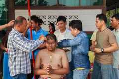 A series of initiation rites that have changed to the new man at the temple Thailand. Bangkok March 1: a series of initiation rites that have changed to the new Royalty Free Stock Images
