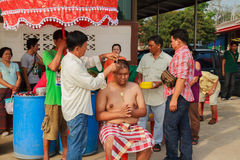 A series of initiation rites that have changed to the new man at the temple Thailand Stock Photos