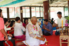 A series of initiation rites that have changed to the new man at the temple Thailand. Bangkok March 1: a series of initiation rites that have changed to the new Stock Image