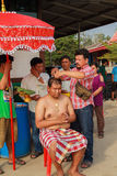 A series of initiation rites that have changed to the new man at the temple Thailand Stock Photo