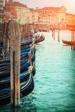 Series italian gondola in Venice Royalty Free Stock Image
