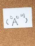 The series of Japanese emoticons called Kaomoji, surprised. The series of Japanese emoticons called Kaomoji on the cork board, surprise Stock Image