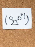 The series of Japanese emoticons called Kaomoji, surprised. The series of Japanese emoticons called Kaomoji on the cork board, surprise Stock Photo