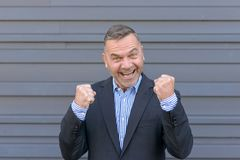 Series 6/6 Jubilant businessman cheering and clenching fists. Punching the air celebrating a business or personal success or good news stock photos
