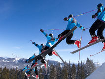 Series of a jumping freeskier Stock Image