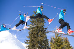 Series of a jumping skier Stock Photography