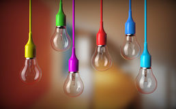 Series of light bulbs. Hanging with bulb Royalty Free Stock Image