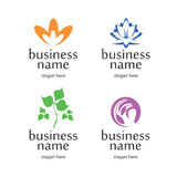 Logo with floral elements. Series logos on the theme of nature, purity and eco-friendly products Stock Photography