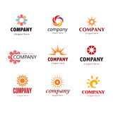Solar logo. Series of logos with various elements of the sun Royalty Free Stock Photo