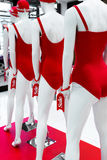 Series of mannequins in red swimsuits. Sale. A series of mannequins in red swimsuits.Sale Royalty Free Stock Photos
